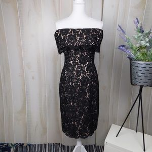 Eliza J Black Lace Off Shoulder Midi Dress